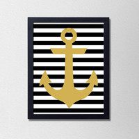 """Modern Nautical Poster. Black and Gold. Anchor. Black and White Stripes. Office Art. Bedroom Poster. Bathroom Poster. 8.5x11"""" Print"""