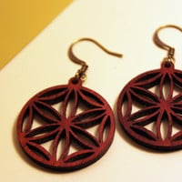 red cherry wooden mandala earrings