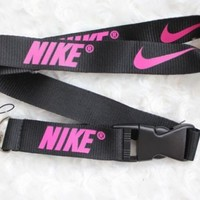 Nike Lanyard Key Chain ID Strap BLACK NEON PINK ☆FREE USA SHIPPING ☆NEW
