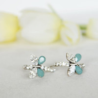 butterfly post earrings matt mint green clear crystal swarovski rhinestone post earrings wedding bridal jewelry bridesmaid jewelry gifts