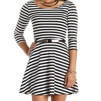 GOLD-BELTED STRIPED SKATER DRESS
