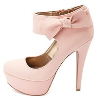 KNOTTY BOW ANKLE CUFF PLATFORM PUMPS