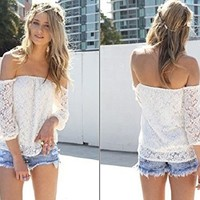 ABC Sexy White Lace Off-shoulder Loose Tops Fashion Casual T-shirt Blouse