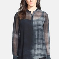 Eileen Fisher Oxidized Boxy Silk Shirt (Online Only) | Nordstrom