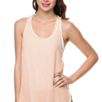 Sheer Contrast Racer Top in Apricot