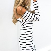 Naught But Cool Dress - off the shoulder white and black striped dress