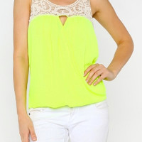 Lace Crossover Top in Neon Yellow