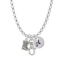 Silver Cowboy Boots Initial Badge Clip Necklace