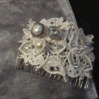 White Lace Hair Comb with Swarovski Crystals and Pearl/Crystal Buttons