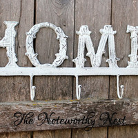 """CHOOSE YOUR COLOR: 17"""" Large Home Sign // Iron Home Sign // Home Hook // Key Hook // Key Holder // Shabby Chic // Metal home //"""