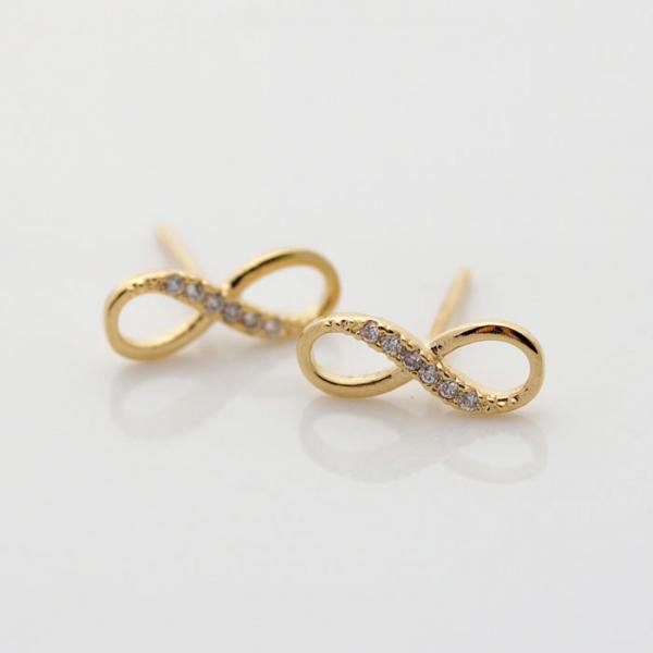 Infinite stud earrings in gold by bythecoco on Zibbet