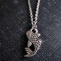 Koi Fish Necklace - Little Pewter Koi Fish Charm on Silver Chain