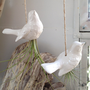 White Hanging Ceramic Bird Planter or Decoration