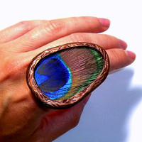 REAL Peacock Feather RING Peacock Jewelry Glass Statement Ring ADJUSTABLE