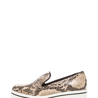 Python Embossed Faux Leather Creepers in Dust & Black