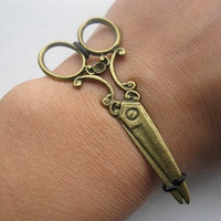 jewelry bangle bronze scissors  black ropes bracelet, women ropes bracelet  unisex bracelet 1022A