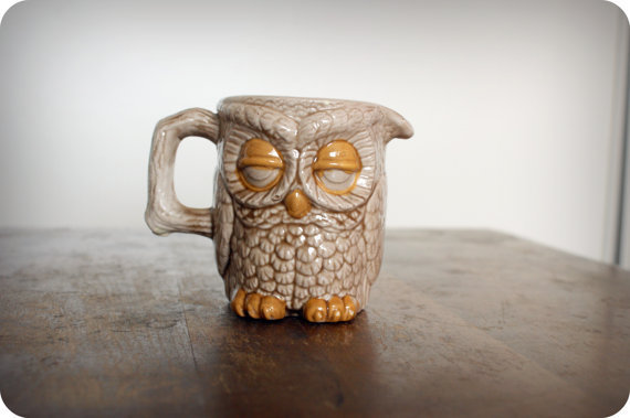 Vintage 70's Sleepy Owl Coffee Creamer Mug Handpainted
