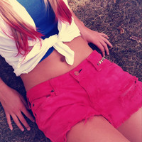 Colored Destroyed Studded Shorts