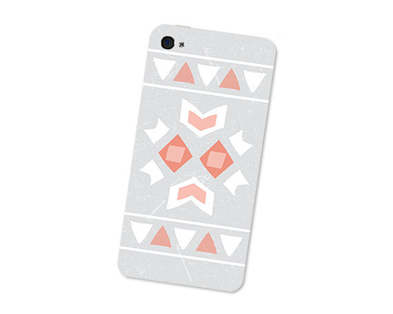 Geometric iPhone 4S Skin: iPhone 4 Skin Decal - Cell Phone Southwest Triangle Tribal in Orange Peach Grey and White Boho For Him iPhone Skin