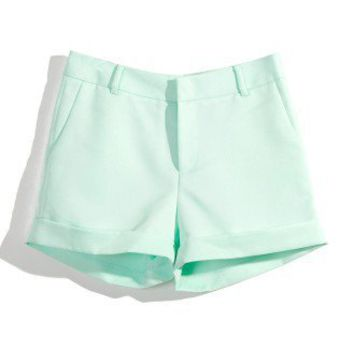 Mint Shorts with Turn Ups by Chic+ - New Arrivals - Retro, Indie and Unique Fashion