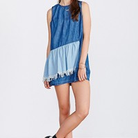 AZY4UO Denim Ruffle Dress - Urban Outfitters