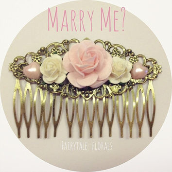 Marry Me? Cute Floral rose Bridal Wedding Hair Comb