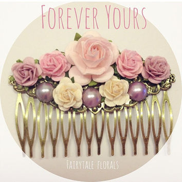 Forever Yours Cute floral rose hair comb bride bridal