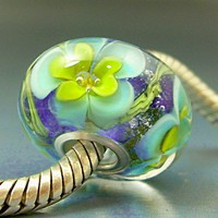 Teal & Yellow Flowers Pandora Trollbeads Handmade Lampwork European Charm Big Hole Bead SRA Gelly