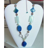 Venetian Blue  and Pale Green Beaded Necklace  - D'Zign Jewelry