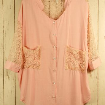 Sheer Pink Lace Blouse with Crop Sleeves and Drape Pockets