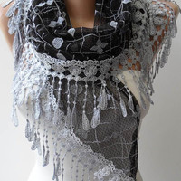 Black and Grey Laced Scarf with Grey Trim Edge  - Speacial Laced Fabric - Triangular