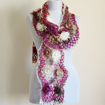 Women colorful Scarf, Crochet  Scarf, Purple, Brown, Gray, Winter scarf, Women Accessories, Gifts for Women