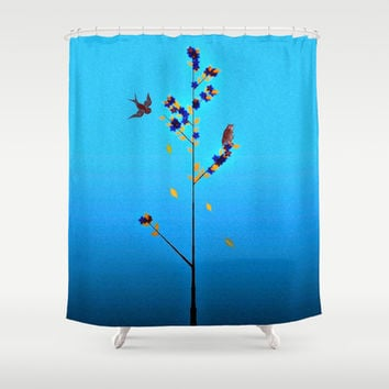 Slow arrival of Autumn Shower Curtain by Laura Santeler