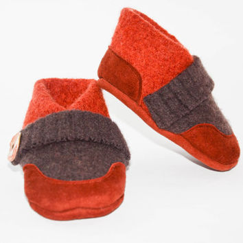 Kids Shoes, Toddler Slippers, from Recycled Wool & Non Slip Suede Leather, kids size 7.0 - 11.5.  Rust Valley