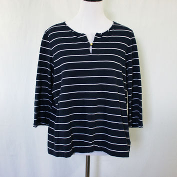 Navy and white striped 3/4 sleeve shirt