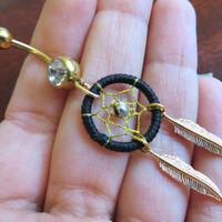 Black Thread Dream Catcher Belly Button Ring- Gold Feather Dreamcatcher Charm Dangle Navel Piercing Body Jewelry