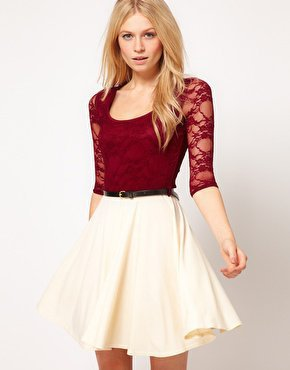 Paprika Lace Top Chiffon Skater Dress at asos.com