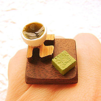 Green Tea Ring Traditional Japanese  Miniature Food Jewelry cij