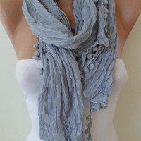 Light Grey Cotton Scarf with Pompom Trim