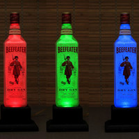 Beefeater Gin Bottle Lamp Color Changing LED Remote Controlled Eco Friendly RGB LED/Party Light / Intense Diamond like Sparkle