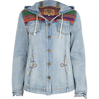 light wash denim aztec hooded shacket