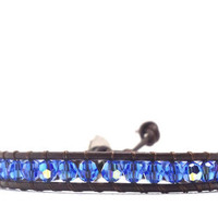 Leather Wrap Bracelet, Sapphire Blue Swarovski Crystal