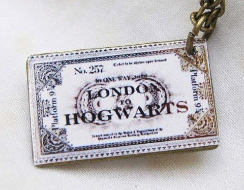Harry Potter Hogwarts Express Train Ticket necklace