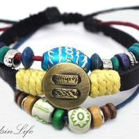 Hand-woven ethnic leather hemp bracelet BA5