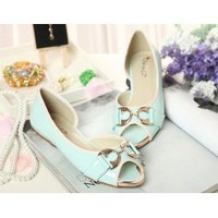 Wholesale Feet to show thin comfortable flat shoes XD-LT12A-28 blue - Lovely Fashion