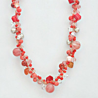 Coral Beaded Double Crochet Twisted Choker Necklace