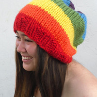 Hand Knit Slouchy Hat in Rainbow colors - Super Thick and Chunky -  The Happy Slouchy