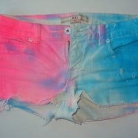 Color Block Cut off jean shorts