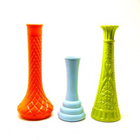 colorful vases, vintage milk glass  //  upcycled vase collection, lime green, neon orange, aqua, kitschy decor, 60s, bright summer trends