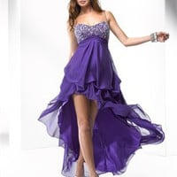 Off-the-shoulder beading tulle purple green prom dresses 2012 PDM4029